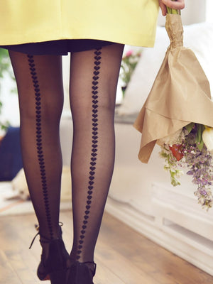 back seam heart tights with yellow dress - collant ligne de coeurs avec robe jaune