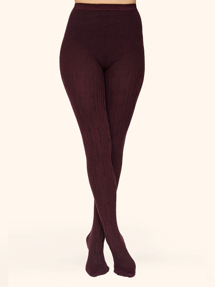 burgundy merino wool tights with knitted patterns - collant laine mérinos à motifs tricotés bordeaux