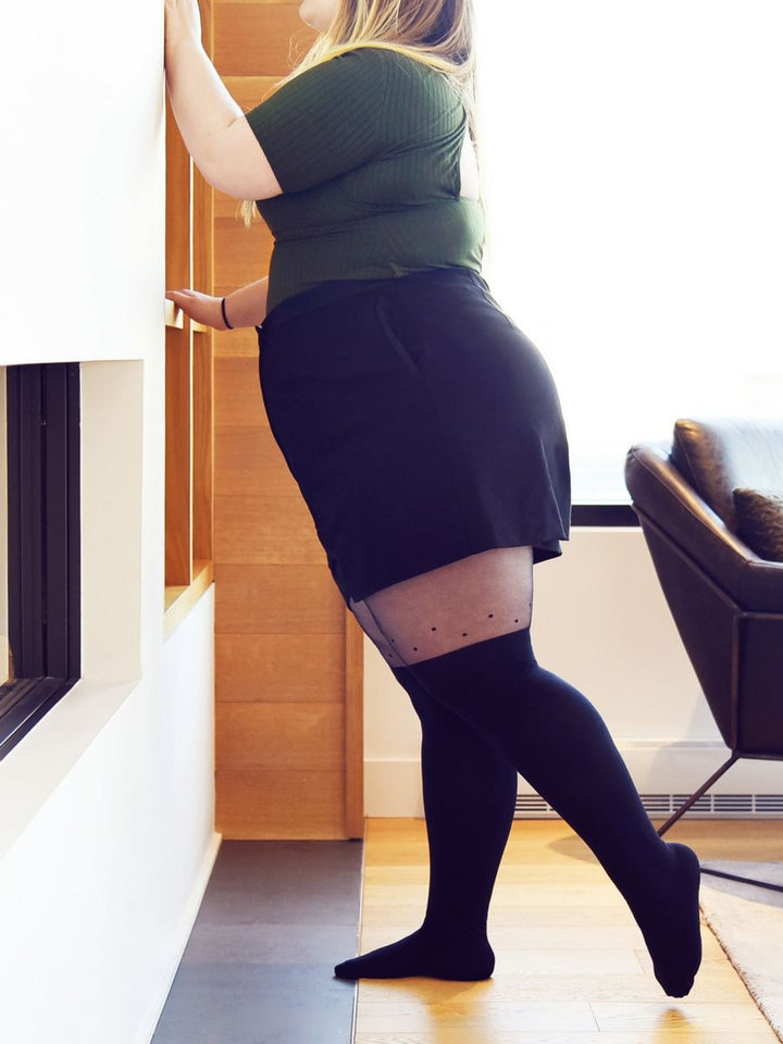 0bb582629 over-the-knee tights with dot detailing plus size with black shorts and  green