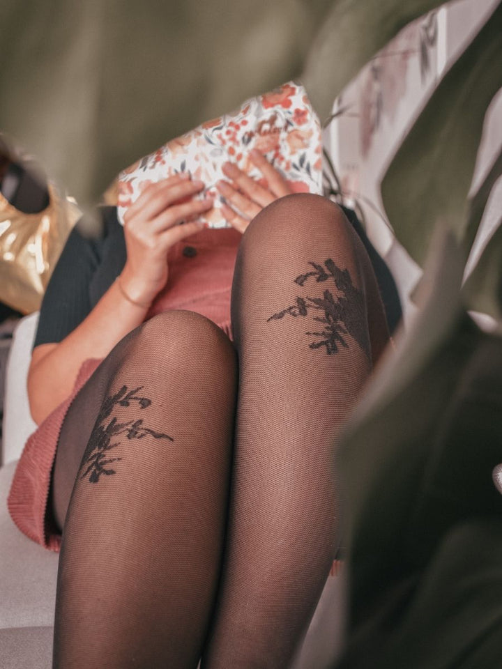 Tights with Floral Detail