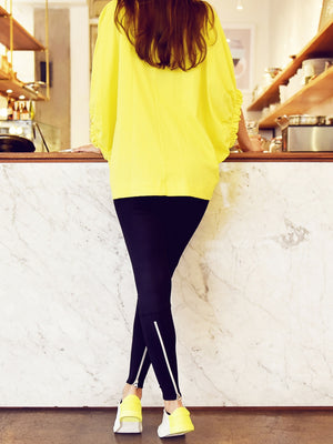 Legging with Zipper with yellow shoes and top - Legging avec fermeture éclair avec haut et chaussures jaune