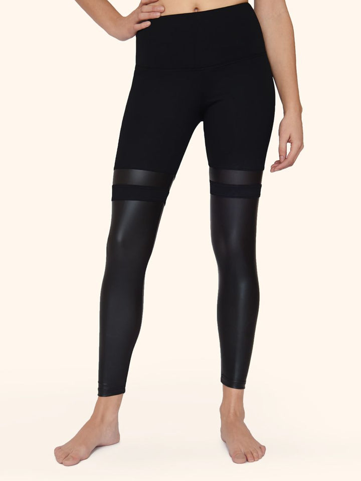 Faux Leather with Strips Leggings