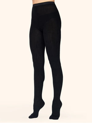 black merino wool tights with knitted pattern - collant laine mérinos noir motifs tricotés