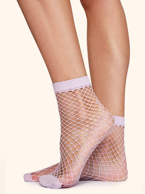 Lilac Fishnet Socks