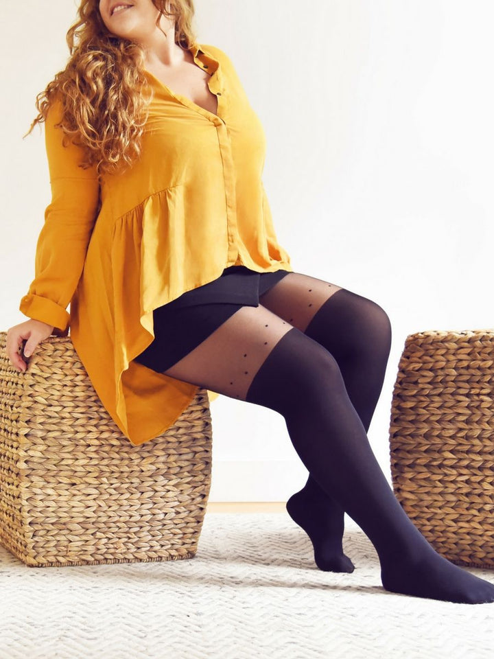 56a91ecd8 over-the-knee tights with dot detailing plus size with black shorts and  yellow