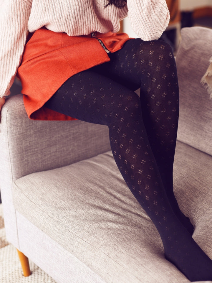 Warm Black Floral Tights