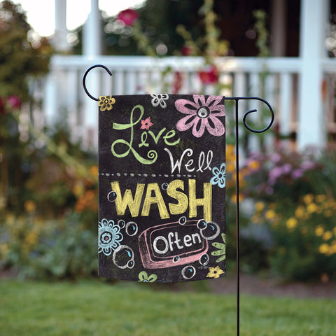 Wash Well Wash Often Garden Flag Image