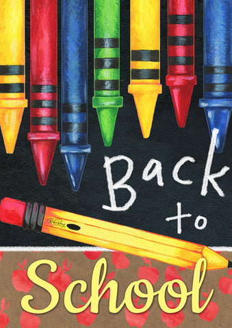 Back to School Crayons Garden Flag Image
