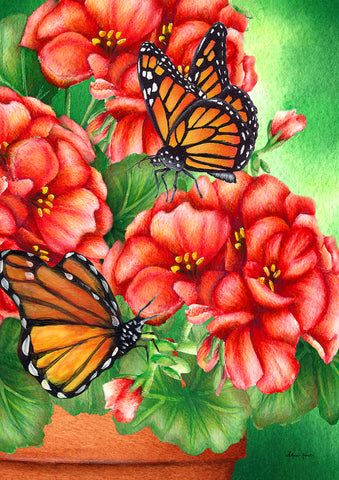 Geraniums and Butterflies Flag Image