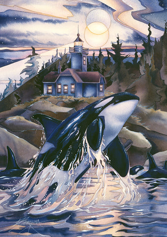 Leaping Orca Garden Flag Image