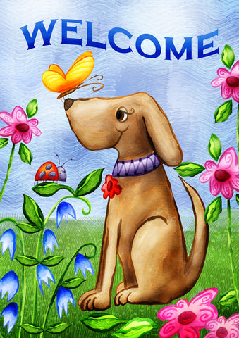 Welcome Dog Double Sided Garden Flag Image