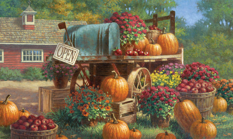 Farm Pumpkin Door Mat Image