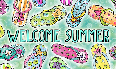 Welcome Summer Sandals Door Mat Image