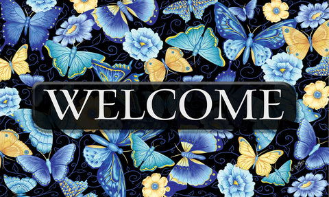 Blue Butterfly Welcome Door Mat Image