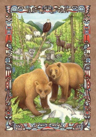 Grizzly Bear Wilderness Garden Flag Image