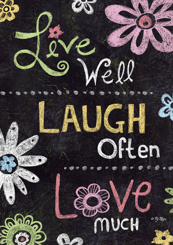 Live Laugh Love Chalkboard Double Sided Garden Flag Image