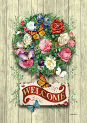 Floral Wreath Welcome Garden Flag (12.5 x 18