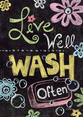 Live Well Wash Often Garden Flag (12.5 x 18