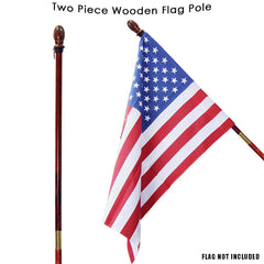 Two Piece Wooden Flagpole Mahogany (Case of 6)