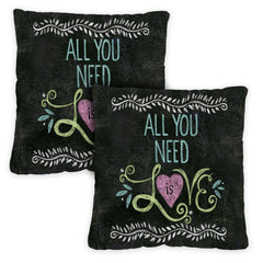 All You Need Is Love Chalkboard 18 x 18 Inch Pillow Case (2-Pack)