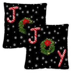 Joy Wreath 18 x 18 Inch Pillow Case (2-Pack)