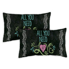 All You Need Is Love Chalkboard 12 x 19 Inch Pillow Case (2-Pack)
