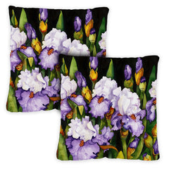 Blooming Irises 18 x 18 Inch Indoor Pillow Case (2-Pack)