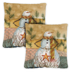 Americana Snowman 18 x 18 Inch Indoor Pillow Case (2-Pack)