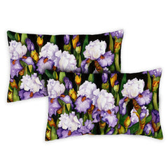 Blooming Irises 12 x 19 Inch Indoor Pillow Case (2-Pack)