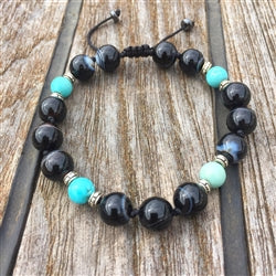 Botswana Agate & Turquoise 8mm Adjustable Beaded Bracelet with Silver Accents