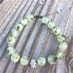 Prehnite 8mm Adjustable Beaded Bracelet with Silver Hamsa Hand and Silver Accents