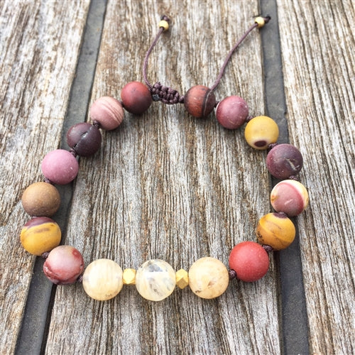 Mookaite Jasper & Citrine 8mm Adjustable Beaded Bracelet with Gold Accents