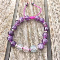Fluorite & Amethyst 8mm Adjustable Beaded Bracelet with Silver Accents