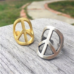 Ring - Peace handmade adjustable brass