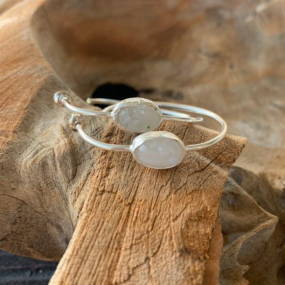 Moonstone Hoop Earrings in Silver