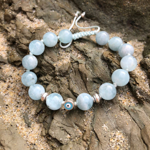 Aquamarine with Eye of Protection 8mm Adjustable Beaded Bracelet with Silver Accents