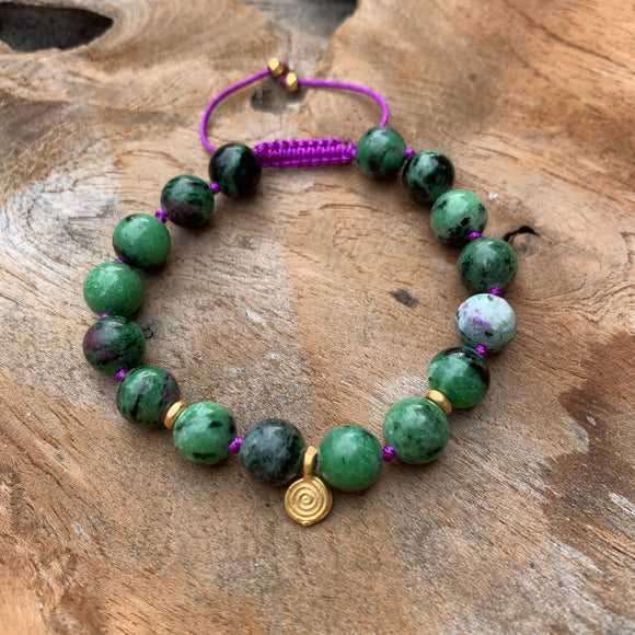 Ruby Zoisite Adjustable Beaded Bracelet with Gold Four Leaf Clover