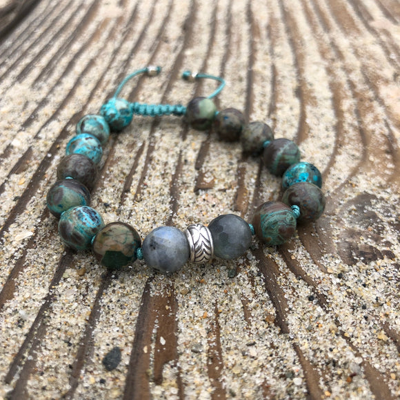 Ocean Jasper & Labradorite 8mm Adjustable Beaded Bracelet with Silver Accents