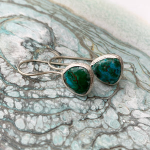 Chrysocolla Earrings in Silver