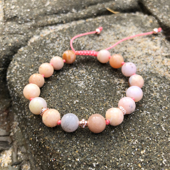 Pink Opal 8mm Adjustable Beaded Bracelet with Rose Gold Accents