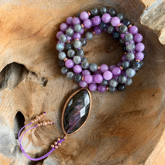 Labradorite and Lepidolite Mala with Labradorite Guru Bead