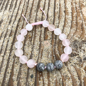 Matte Rose Quartz & Picasso Jasper 8mm Adjustable Beaded Bracelet with Rose Gold Accents