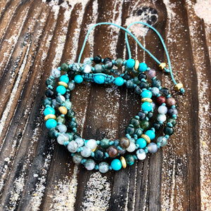 Indian Agate & Turquoise Adjustable Mala 4mm