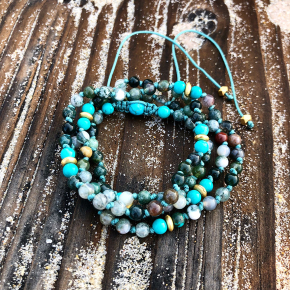 Mala - Indian Agate and Turquoise Adjustable