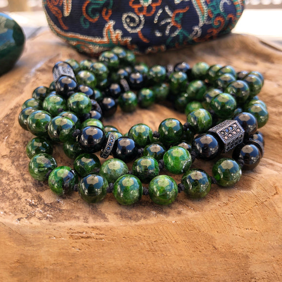 Mala - Diopside or Siberian Emerald and Black Tourmaline Adjustable