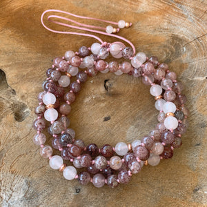 Rose Quartz & Strawberry Quartz Adjustable Mala