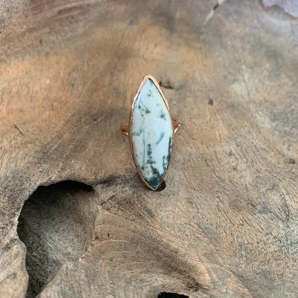 Moss Agate Ring in Rose Gold