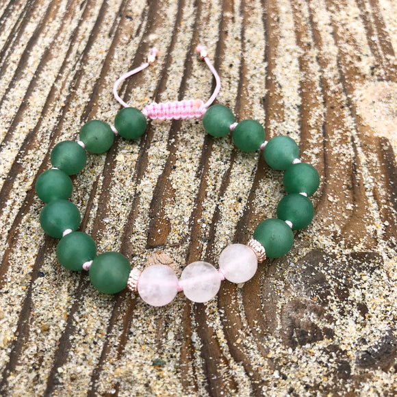 Green Aventurine & Rose Quartz 8mm Adjustable Beaded Bracelet with Rose Gold Accents