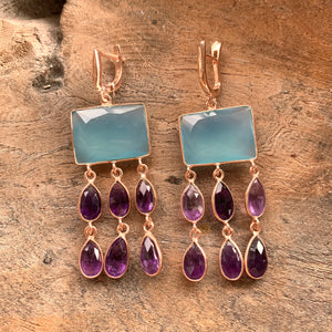 Silver - Amethyst and Chalcedony Earrings