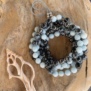 Aquamarine, Hematite & Snowflake Obsidian Adjustable Mala with Matte Black Onyx Guru Bead